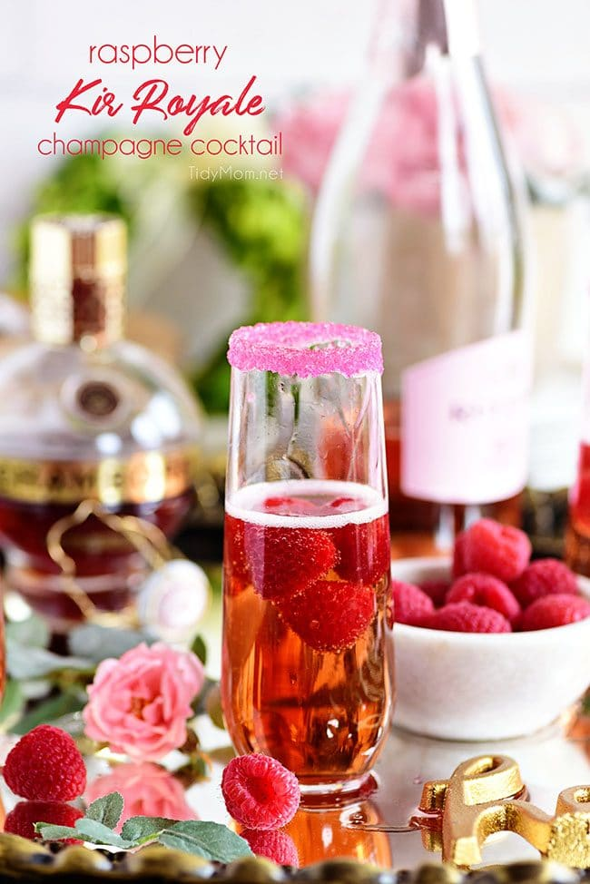 Raspberry Kir Royale cocktail with Chambord