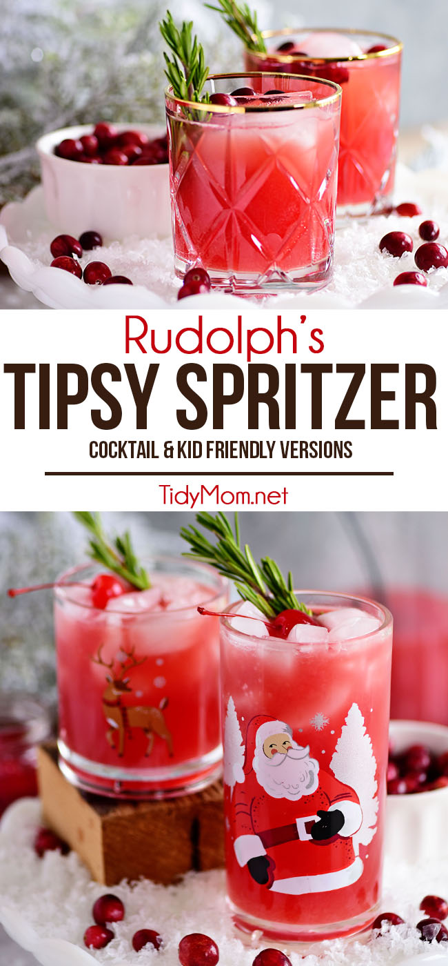 If you're looking for a festive holiday cocktail or a change of pace from the usual Cosmo look no further! RUDOLPH'S TIPSY SPRITZER features the perfect balance of flavors that goes beyond a simple mix of vodka and cran. This easy spritzer makes a party-perfect punch that can easily be made kid-friendly by omitting the vodka. Print the full recipe at TidyMom.net #cocktails #cranberry #vodka  #cocktailrecipes #drinks #kidfriendly  #mocktails #shirleytemple  #holiday  #holidaycocktail