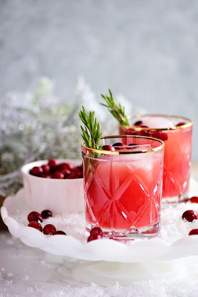 RUDOLPH'S TIPSY SPRITZER cocktail on a white tray