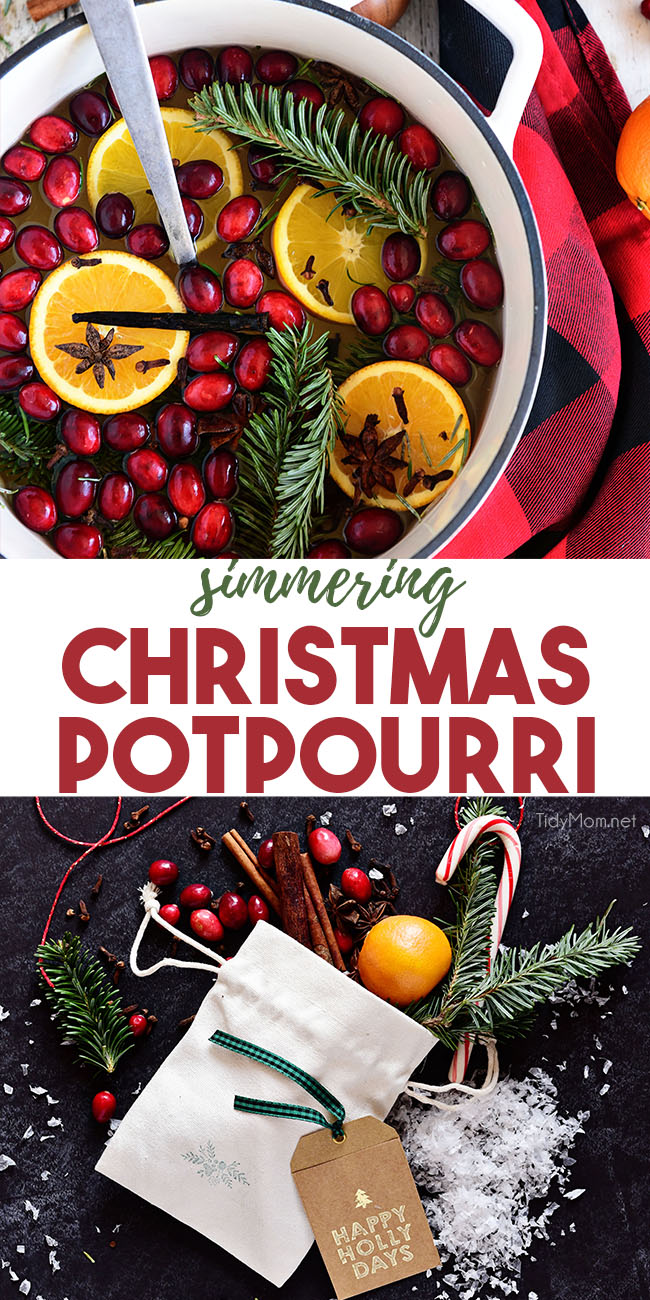 Make your home smell like Christmas with this Simmering Christmas Potpourri. Use your stovetop or slow cooker to warm your house with holiday scents. Package it up and It makes a great homemade Christmas gift idea. Get the recipe at TidyMom.net #potpourri #simmeringpotpourri #christmas #handmadegift #giftidea #holiday