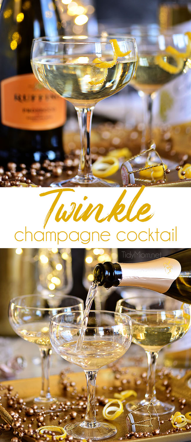 A Twinkle champagne cocktail is a great way to add a little sparkle to your celebrations. With its champagne top and glitzy name, this light, delicately flavored Downton Abbey-inspired drink is ideal for a New Year's Eve or Valentine's Day. Print the recipe at TidyMom.net #cocktails #champagne #newyearseve #valentinesday