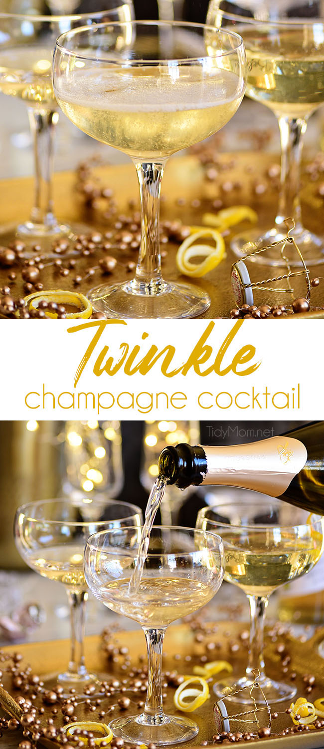 A Twinkle champagne cocktail is a great way to add a little sparkle to your celebrations.With its champagne top and glitzy name, this light, delicately flavored Downton Abbey-inspired drink is ideal for a New Year's Eve or Valentine's Day.Print the recipe at TidyMom.net #cocktails #champagne #newyearseve #valentinesday