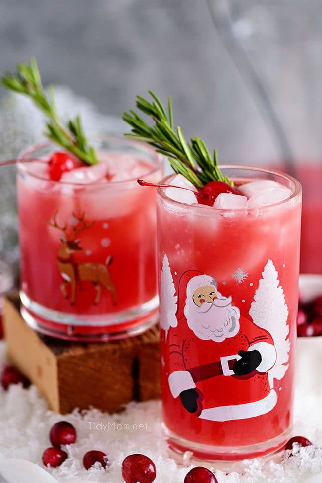 kid-friendly virgin holiday cocktail RUDOLPH'S TIPSY SPRITZER