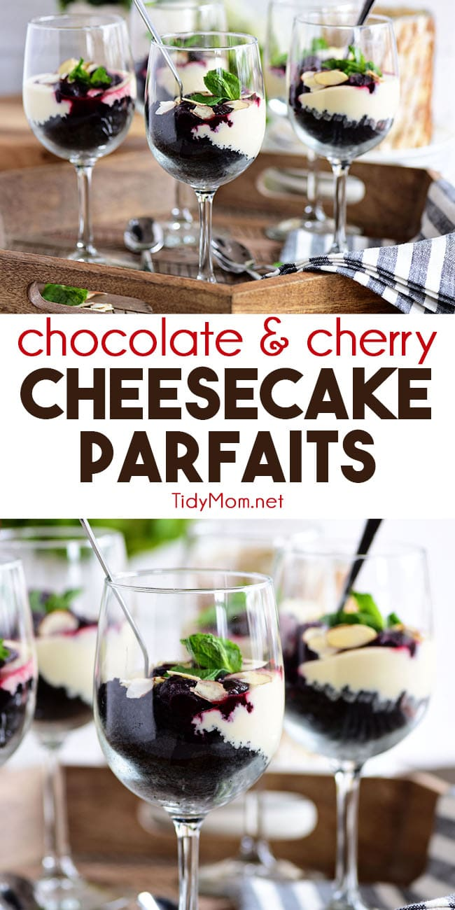 These Cheesecake Parfaits are layered with chocolate cookie crumbs, dark sweet cherries, and a no-bake cheesecake filling. It's a sinfully easy and delicious make-ahead dessert for any occasion. Print the full recipe at TidyMom.net  #cheesecake #parfait #cherrycheesecake #nobake #nobakedessert #cherry