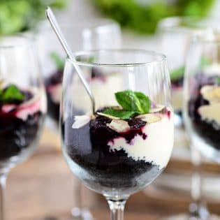 Cheesecake Parfaits in wine glasses
