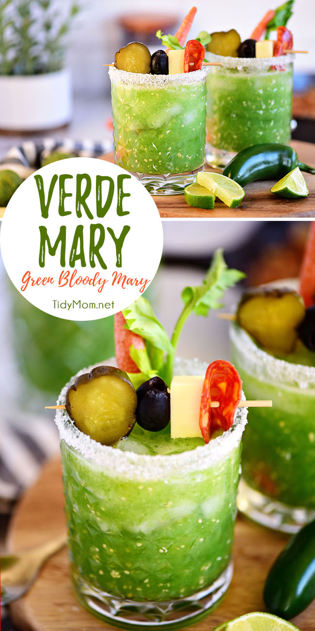 Tomatillos give the traditional Bloody Mary a green twist for a Verde Mary or Green Bloody Mary. Aspicy colorful takeon the classic cure-all cocktail. Print the recipe at TidyMom.net #bloodymary #cocktails #cocktailrecipes #verde #green
