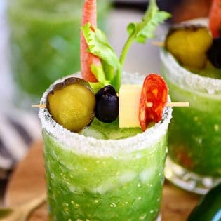 Verde Mary or Green Bloody Mary on tray