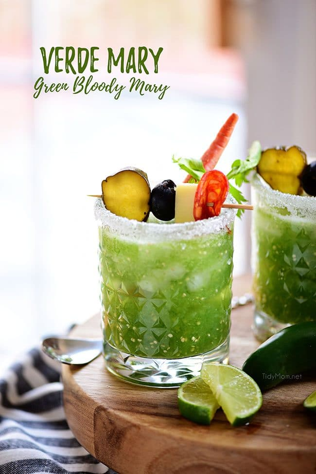 Verde Mary or Green Bloody Mary with lots of garnishes
