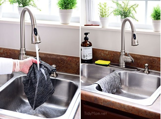 rinsing and drying dishcloth to reduce bacteria