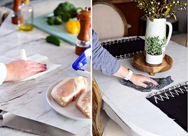 using a paper towel to clean germ filled messes in the kitchen
