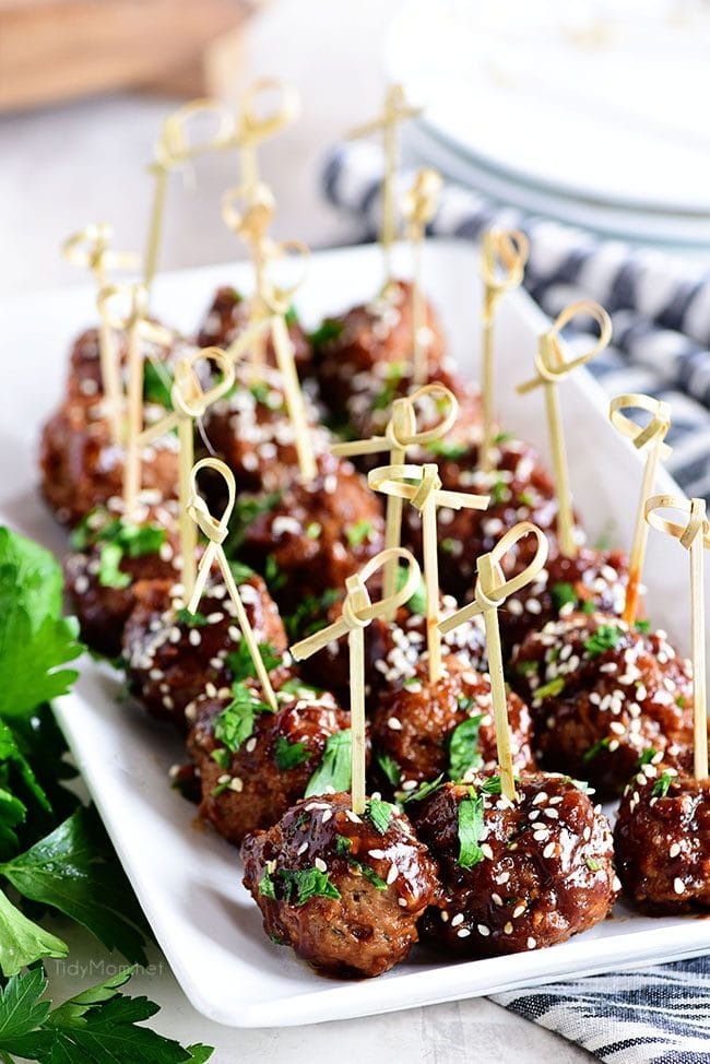 Sweet and Tangy Asian Meatballs appetizer on a tray