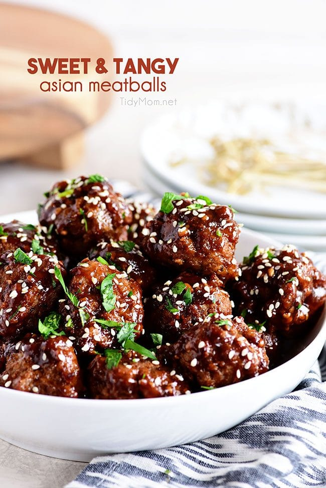 Easy Sweet and Tangy Asian Meatballs in white bowl