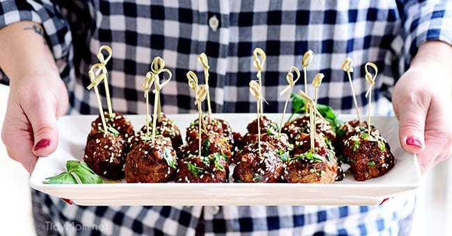 serving Sweet and Tangy Asian Meatballs appetizer