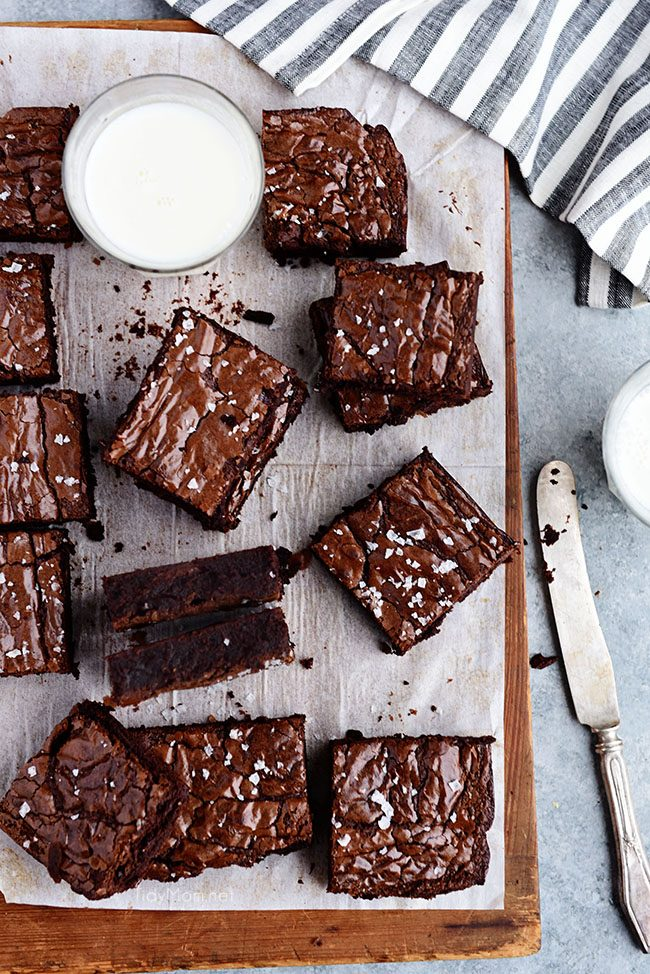 the best brownies cut up on board