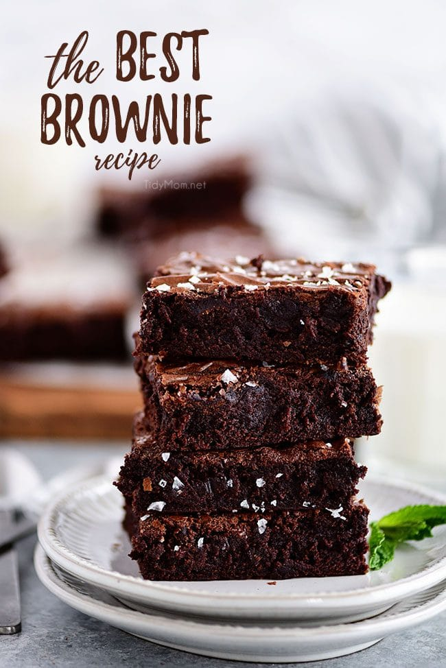 the best brownies stacked on a plate
