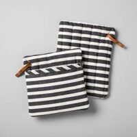 Hearth & Hand with Magnolia Potholder 2 Pc Black Cream Stripe Set Farmhouse Collection