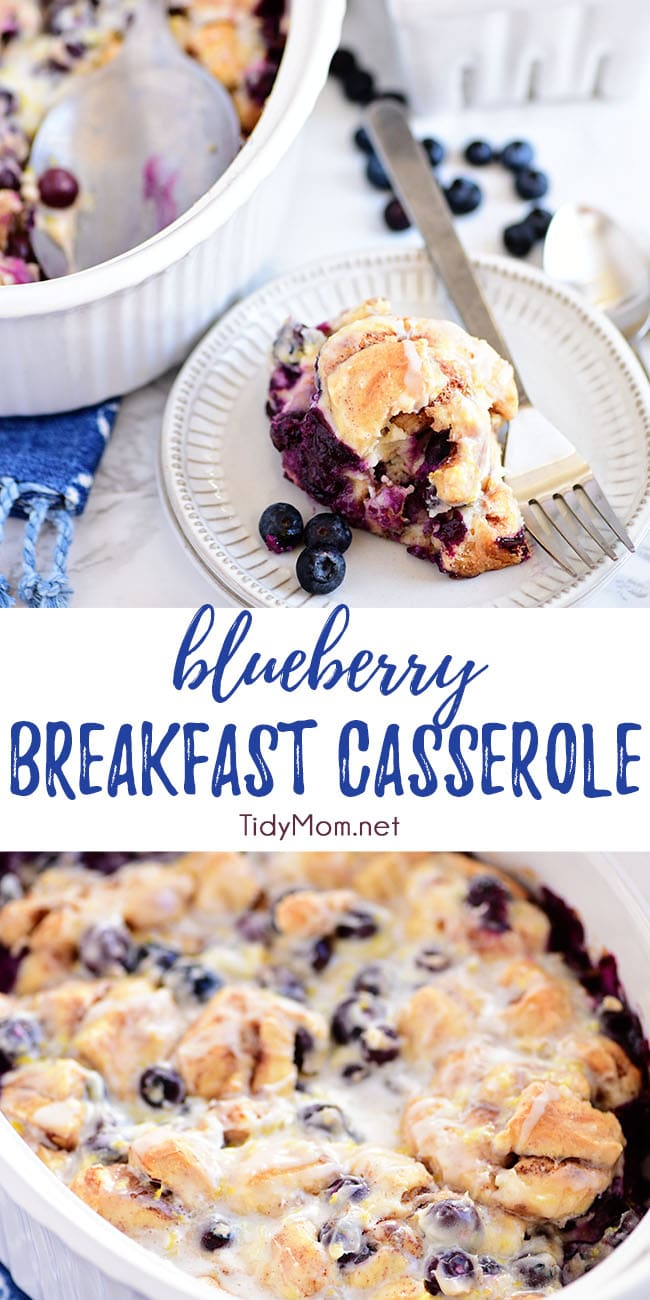 This Blueberry Breakfast Casserole is perfect for brunch, breakfast or dessert! With cinnamon rolls, cream cheese and loaded with juicy blueberries and fresh lemon zest it makes a beautiful presentation.  Print the full recipe at TidyMom.net #breakfastcasserole #breakfast #brunch #dessert #cinnamonrolls #blueberry #lemon