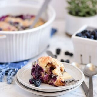 Blueberry Breakfast Casserole dish and serving on a plate