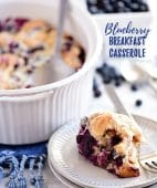 Blueberry Breakfast Casserole serving on a plate