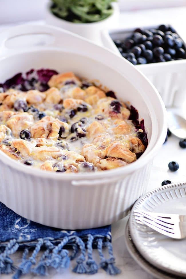 White dish with Blueberry Breakfast Casserole