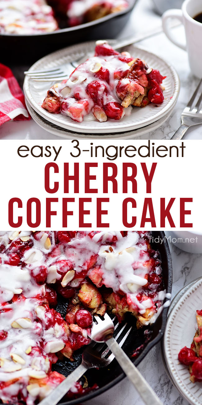 The smell of Cherry Coffee Cake baking will have everyone out of bed in no time. A can of pie filling and a few tubes of cinnamon rolls help make this delicious breakfast or dessert. It's the perfect addition to a hot cup of coffee and good conversation. Print the easy recipe at TidyMom.net #cherry #coffeecake #breakfast #dessert #cinnamonrolls