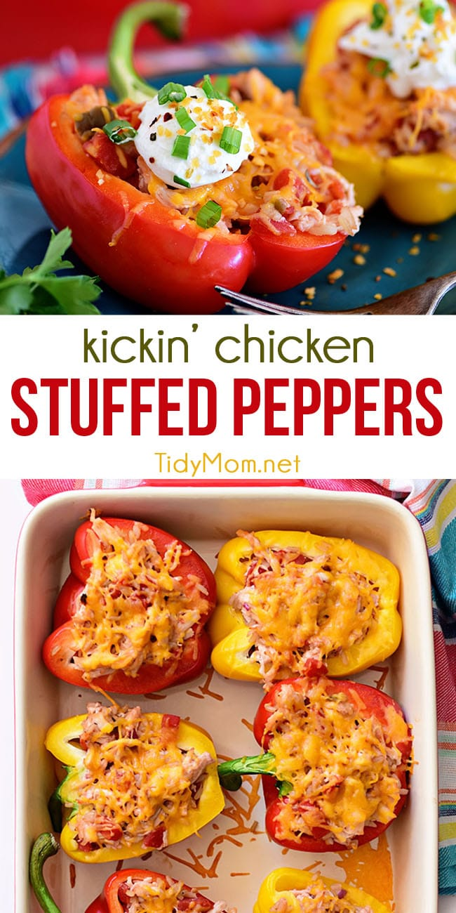 Kickin' Chicken Stuffed PeKickin' Chicken Stuffed Peppers are conveniently portioned and stuffed with chicken, rice, tomatoes, and cheese to create a weeknight dinner ready for everyone to dig in.  Packed full of flavor in one easy-to-make and totally delicious dinner recipe they'll ask for time and again. Print the full healthy recipe at TidyMom.net #stuffedpeppers #familydinner #dinnerrecipe #chickendinner #healthy