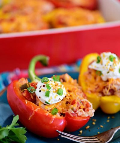 chicken stuffed peppers with sour cream on top