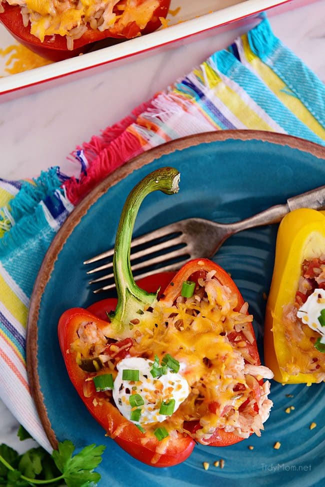 Chicken Stuffed Peppers with sour cream and cheese