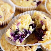 Lemon Blueberry Muffins with Crumb Topping