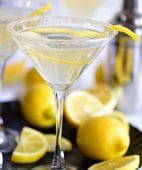 Lemon Drop Martini with sugar rim and lemon twist