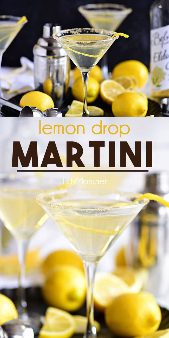 This Lemon Drop Martini offers a sophisticated twist on a classic cocktail. The signature light and zesty favorite combines vodka, triple sec, fresh lemon juice andelderflower cordial. It's the perfect combination of sweet and tart with all the bright lemon flavor you love and easy to make! print the full recipe at TidyMom.net #lemondrop #martini #cocktails #cocktail #cocktailrecipe #classiccocktail #vodka