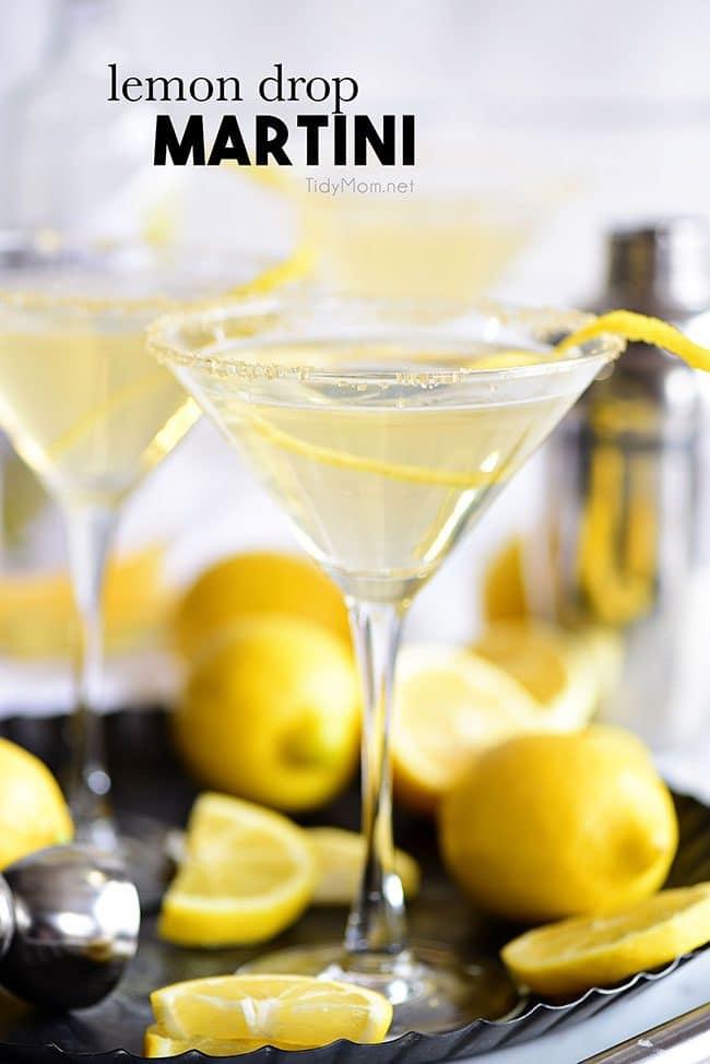 Lemon Drop Martini on a tray with fresh lemons