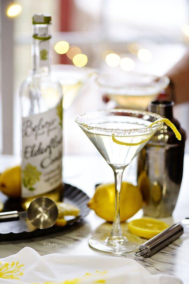 Lemon Drop Martini with elderflower cordial bottle