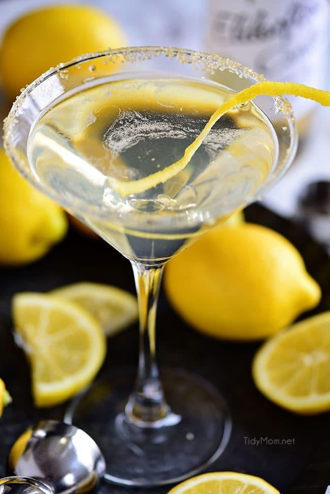 Lemon Drop Martini in a glass with a lemon twist