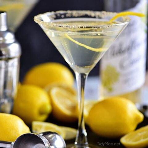 Lemon Drop Martini with Elderflower
