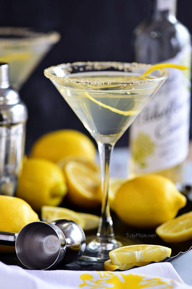 Lemon Drop Martini in a martini glass with lemon twist and sugar rim