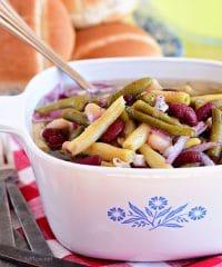 Classic bean salad in a vintage Corningware dish