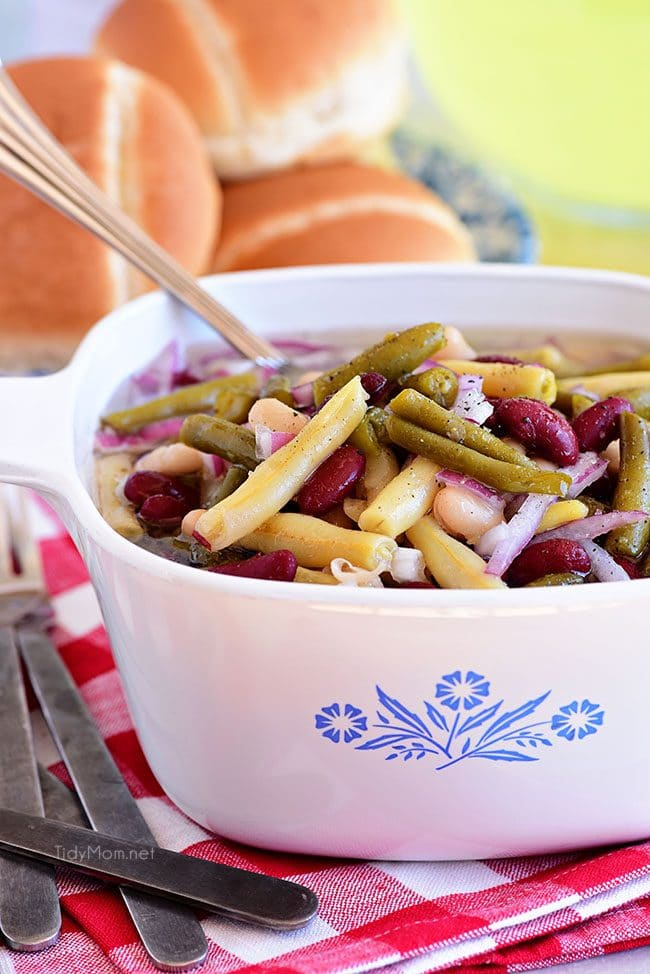 Classic bean salad in a vintage Corningware dish