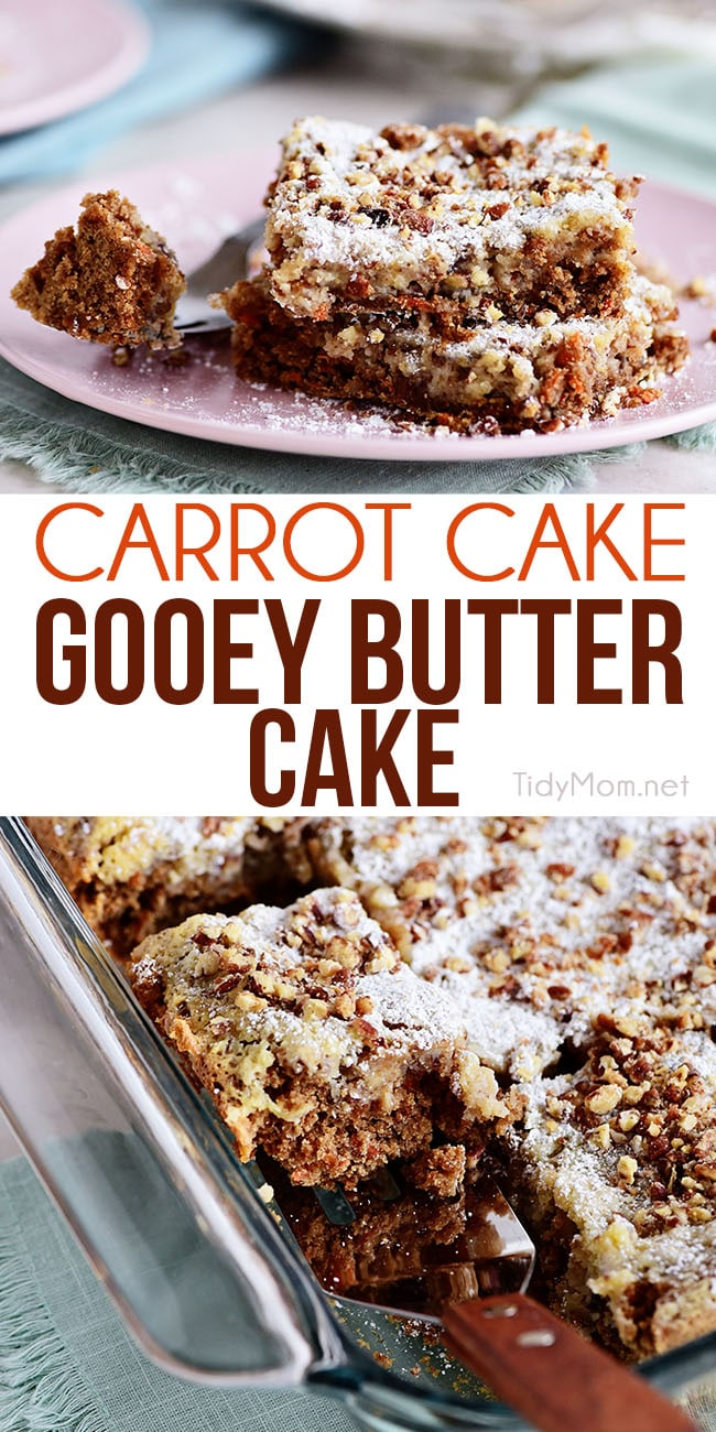 You won't have any will power once this Carrot Cake Gooey Butter Cake hits your mouth! We are giving the traditional Gooey Butter Cake a spring twist with all the flavors of our favorite carrot cake! It's a spice cake chock-full of real carrots with cream cheese and pecan gooey filling to put it over the top!  One bite and you won't be able to get this dessert off your mind. Print the full recipe at TidyMom.net #carrotcake #gooeybuttercake #cake #dessert
