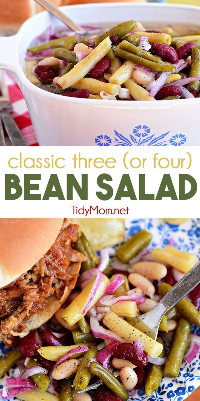 This easy classic Bean Salad recipe is a great side dish in the summer but yet hearty enough for a fall side as well! Quick to make, packed with flavor, and travels well making it perfect for potlucks! Print recipe at TidyMom.net #sidedish #beansalad #summer #potluck #beans