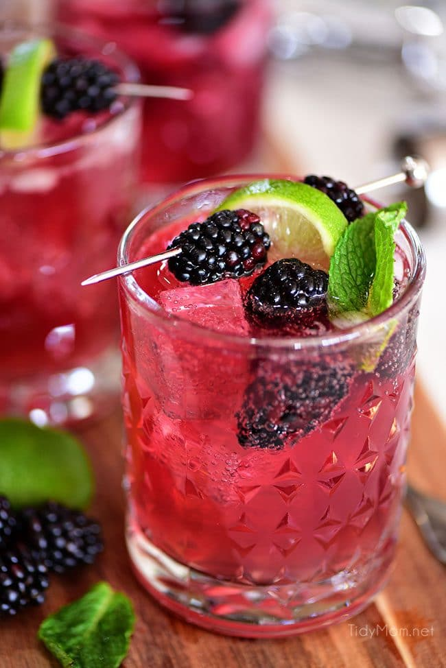 Sangria Mexican Mule cocktail in glass with blackberries and lime