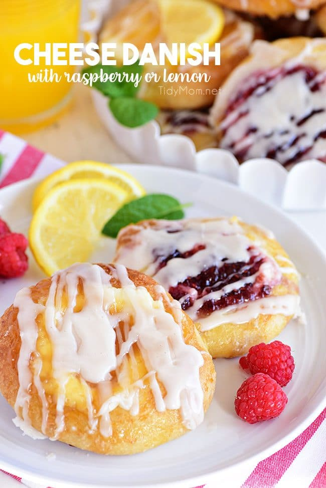 Cream Cheese Danishes with lemon and raspberry on a plate