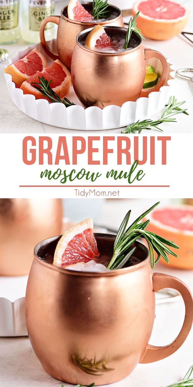 This  Grapefruit Moscow Mule is just the right balance of spicy freshness that is the ginger beer and fresh grapefruit combo. Making this cocktail wonderfully refreshing. Perfect for sipping on the deck with friends, at a bridal shower or holiday gathering. Print the full recipe at TidyMom.net  #cocktails #cocktailrecipes #moscowmule #summercocktails #springcocktails #grapefruit #vodka #vodkacocktails #mothersday #easter #summerentertaining