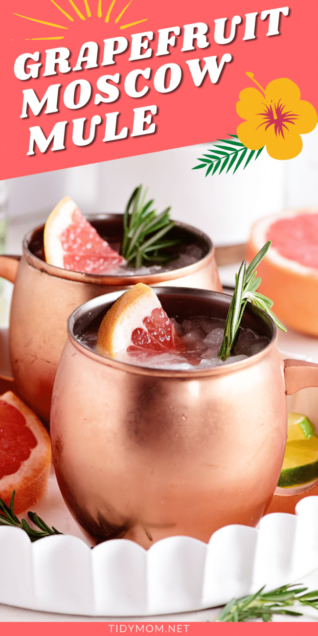 grapefruit moscow mules in copper mugs