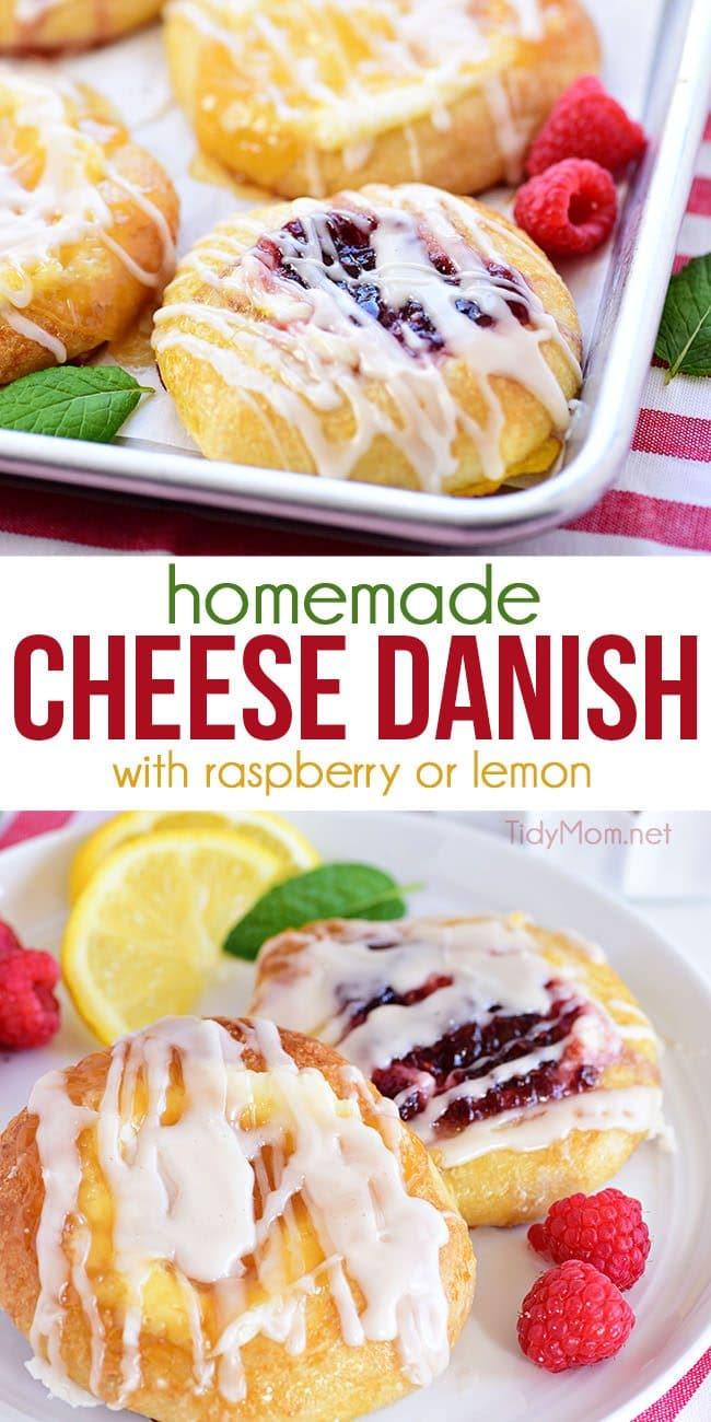 Cream Cheese Danish recuoe with lemon and raspberry photo collage