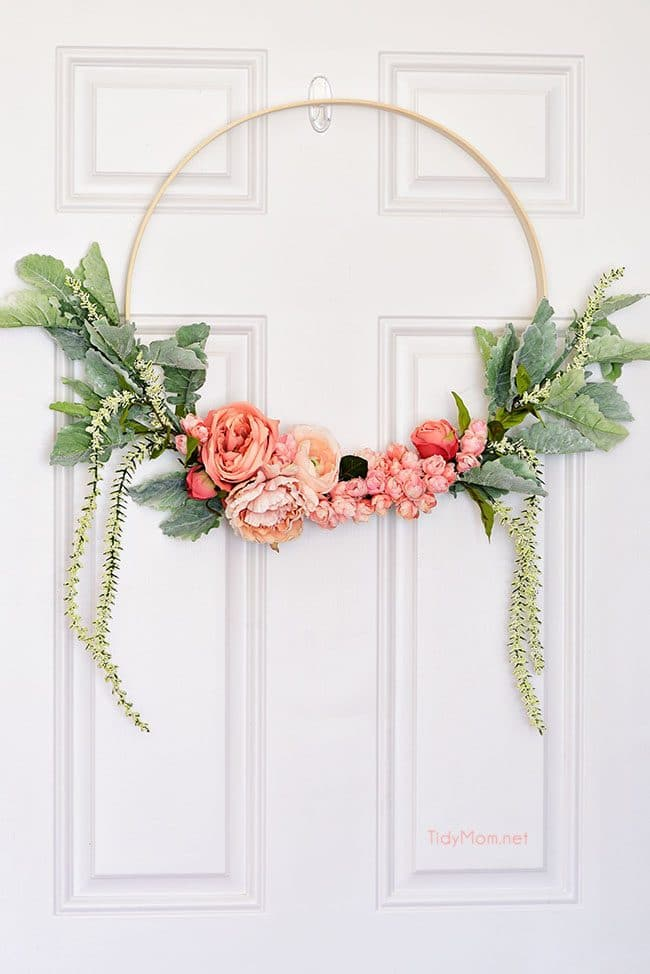 spring floral hoop wreath on door