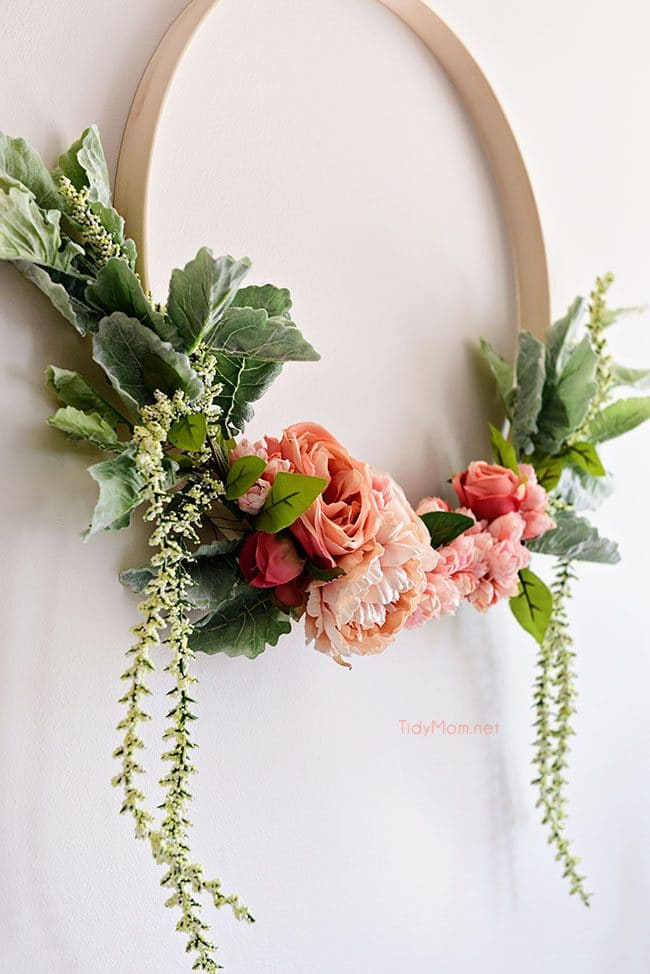 spring floral hoop wreath close up