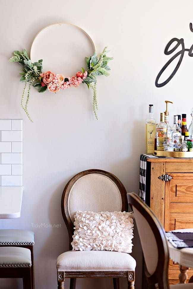 gorgeous floral hoop wreath on wall
