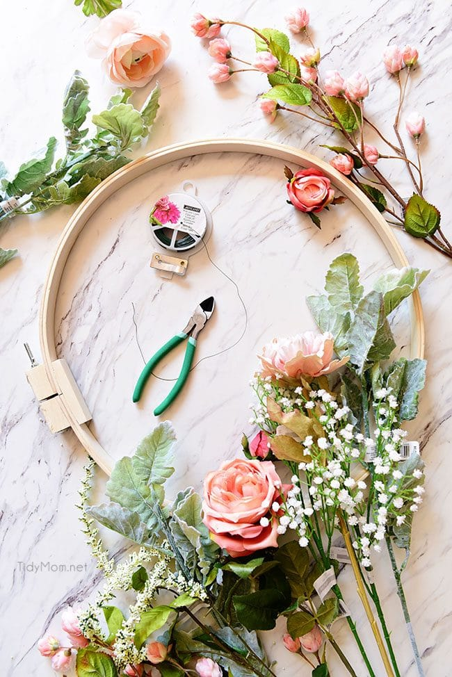 spring floral hoop wreath tutorial and supplies