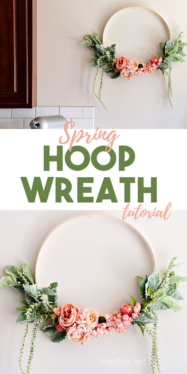 Check out this simple and fun hoop wreath tutorial using faux flowers, wire, and an embroidery hoop. This eye-catching wreath trend is simplistic and perfect for the front door, a nursery, mantle or even party decor. Get the full tutorial at TidyMom.net #wreath #tutorial #howto #diy #hoopwreath #floral